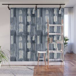 Simply Shibori Lines in Indigo Blue on Lunar Gray Wall Mural