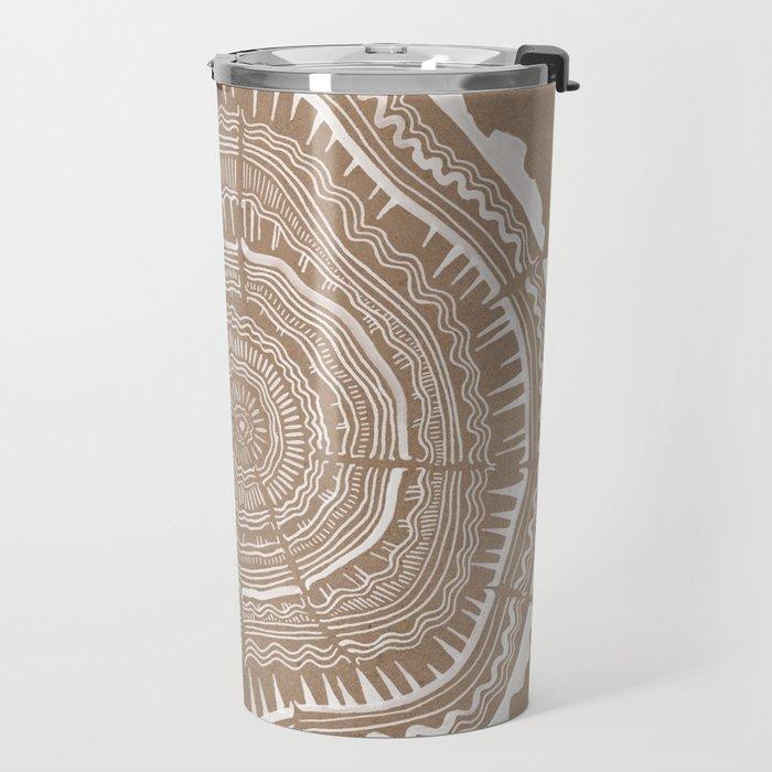 Tree Rings – White Ink on Kraft Travel Mug