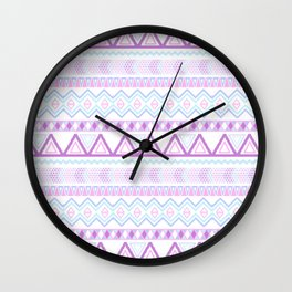 Bright Aztec Andes Pattern Pink Teal Geometrical Wall Clock