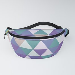 Purple Green Beige Abstract Triangles Fanny Pack