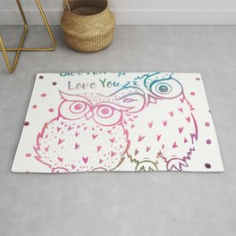 Owl Always Love You - Pink and Blue Rug