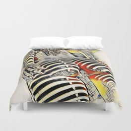 1457s-AK Powerful Nude Woman Kandinsky Style Rear View by Chris Maher Duvet Cover