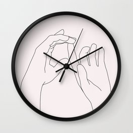 Hands line drawing illustration - Darcy Natural Wall Clock