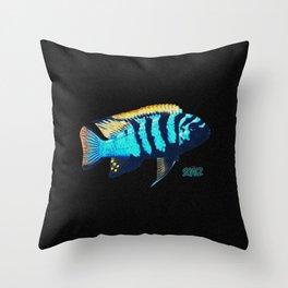 Blue Sentinel Cichlid Throw Pillow