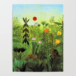 Exotic Jungle Landscape with Lion and Lioness by Henri Rousseau Poster