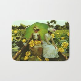Spectacular 'Lotus Lilies' Portrait by Charles Courtney Curran Bath Mat