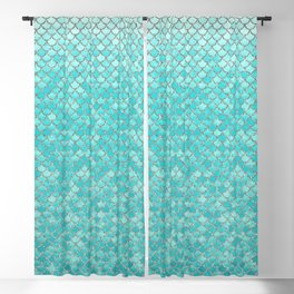 Teal Mermaid Scales Blackout Curtain