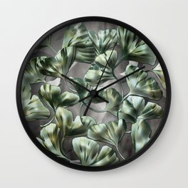 Ginko Leaves on Gray Abstract Wall Clock