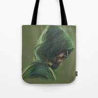 green arrow Tote Bags featuring Green Arrow by xDontStopMeNow