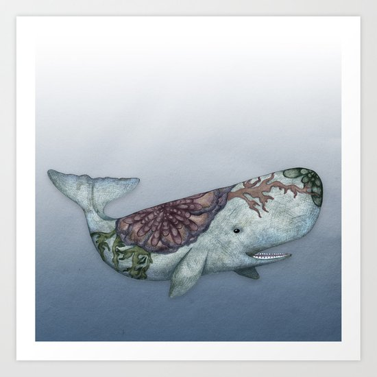 Whale in the Deep - a hand drawn illustration Art Print