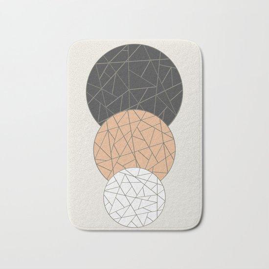 TRIAD ON BEIGE (abstract circles) Bath Mat