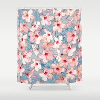 bedding Shower Curtains featuring Shabby Chic Hibiscus Patchwork Pattern in Pink & Blue by micklyn