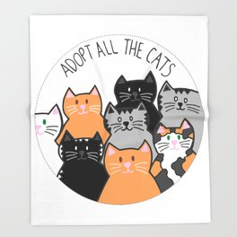 Adopt all the cats Throw Blanket