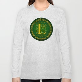 Joshua 24:15 - (Gold on Green) Monogram L Long Sleeve T-shirt