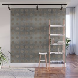 Lace Coin Polka Dots Pattern with Silver Leaf Background Wall Mural