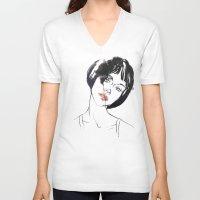 mod V-neck T-shirts featuring Mod Girl by Erin Garey