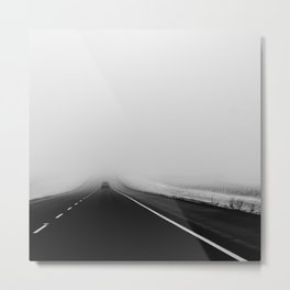 On the Road - Road trip photo, fog photograph, highway dramatic, landscape photo Metal Print