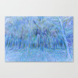 Blue Forest Abstract Art Canvas Print