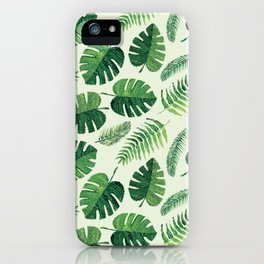 Monstera and palm leaves, green iPhone Case