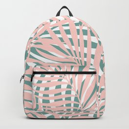 Tropical Green and Pink, Summer Palm Leaves Pattern Backpack