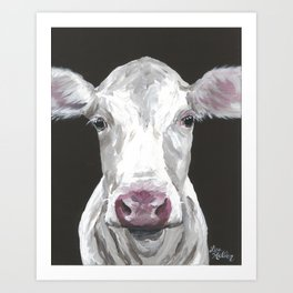 Cow Art, Cute Cow Painting Art Print