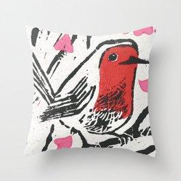 European robin - linocut Throw Pillow