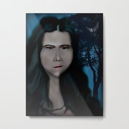 Mysterious Girl With A Long Neck. Metal Print