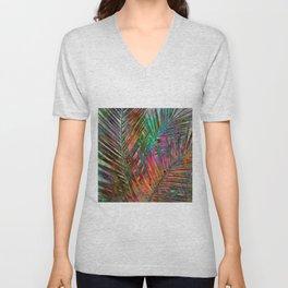Multicolor Palm Leaves Unisex V-Neck