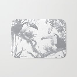 Toucans and Bromeliads - Sharkskin Grey Bath Mat