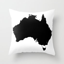 Australia Black Silhouette Map Throw Pillow