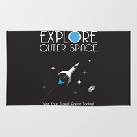outer space Area & Throw Rugs featuring Explore Outer Space by Ryan Polinsky