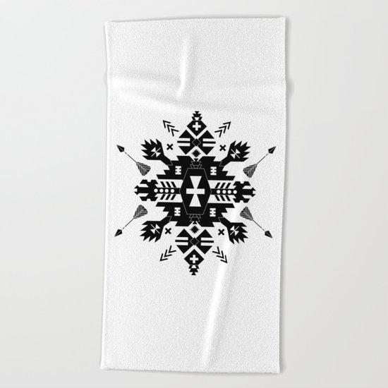 Tribal Black and White Beach Towel