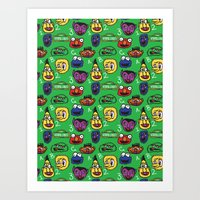 sesame street Art Prints featuring Sesame Street Pattern by MOONGUTS (Kyle Coughlin)