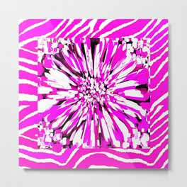 Zebras and Dahlias Pink and White Abstract Metal Print