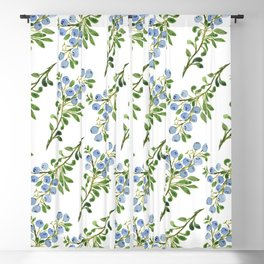 Watercolor Blueberries Pattern Blackout Curtain