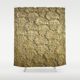 Vintage gold french grunge floral lace Shower Curtain