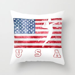 USA Volleyball - Flag of America Throw Pillow