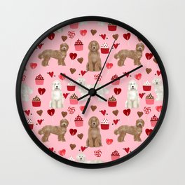 Labradoodle valentines day cupcakes hearts dog breed pet pattern labradoodles Wall Clock