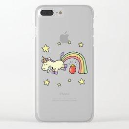 cute jump unicorn Clear iPhone Case