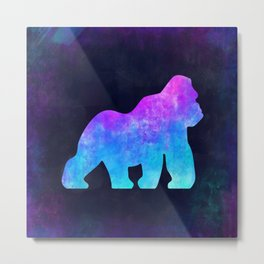 GORILLA IN SPACE // Animal Graphic Art // Watercolor Canvas Painting // Modern Minimal Cute Metal Print