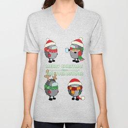 Christmas hedgehogs 2020. Unisex V-Neck