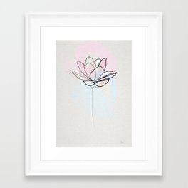 One line Lotus Framed Art Print
