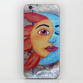 Soluna, Sun and Moon Mixed media Painting iPhone Skin