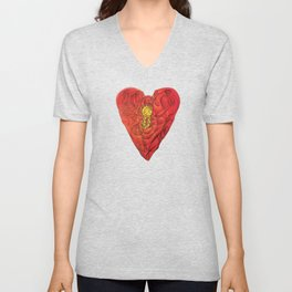 Heart Lock Abstract NeoNeoCubism Unisex V-Neck