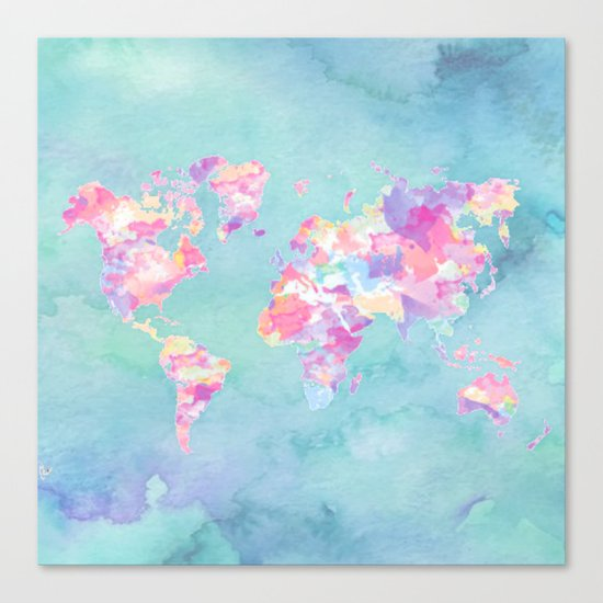 Watercolor Earth (World Travel Wanderlust) Canvas Print