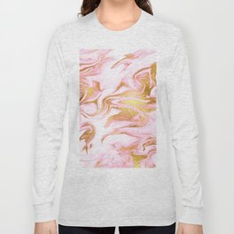 Rose Gold Marble Agate Geode Long Sleeve T-shirt