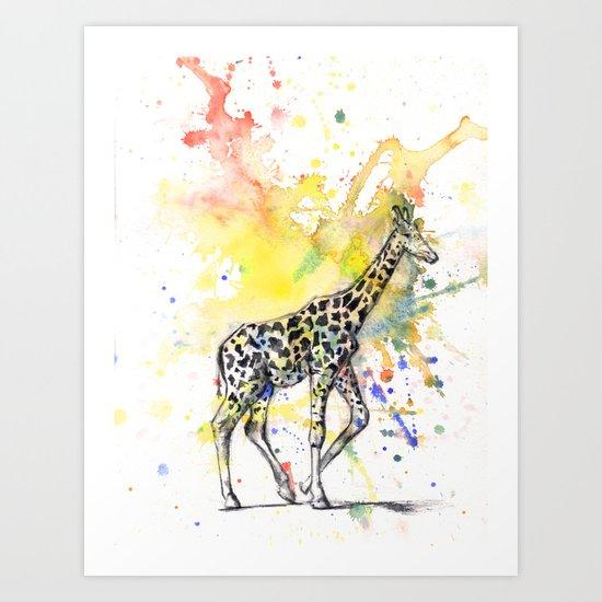 Giraffe in Splash of Color Art Print