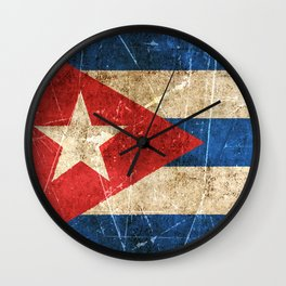 Vintage Aged and Scratched Cuban Flag Wall Clock