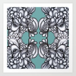 Drips on Teal. Black and white pen illustration pattern.  Art Print