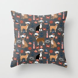 Chihuahua nautical sailor dog pet portraits dog costumes dog breed pattern custom gifts Throw Pillow